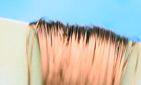 Foto de Macro image of copper wire with a defocused background highlighting the fragile strands of this malleable metal - Imagen libre de derechos