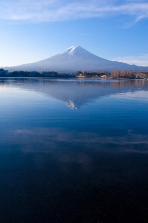 Mt Fuji reflection from sky to lake in early autumn, Japan