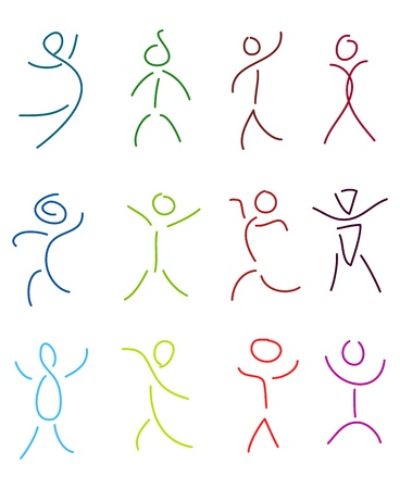 set of stylized people in sketch brush drawing style
