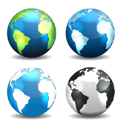 Illustration pour Set of Earth globe icons, different color - image libre de droit