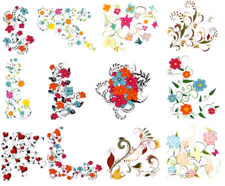 Illustration for Vintage colorful design elements set . With leafs and flowers. - Royalty Free Image