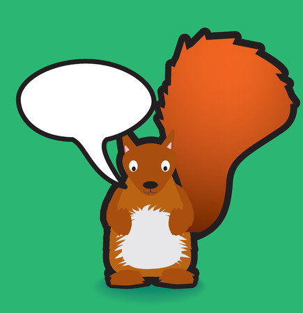 Funky vector illustration of a red squirrel with a chunky black outline