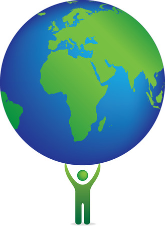 Isolated vector illustration of a single figure holding planet earth