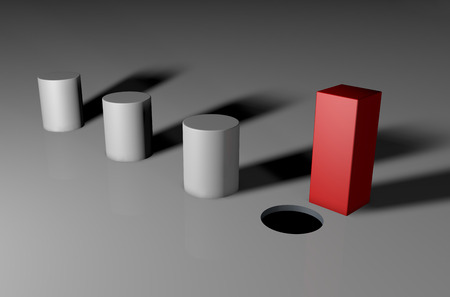 Photo pour 3d visual of a square unique peg - image libre de droit