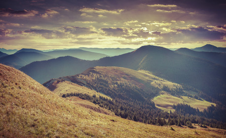 Photo pour Colorful autumn landscape in mountains. Retro style. - image libre de droit