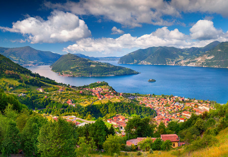 Photo for Spring sunny morning on the city Maroney. Italy, the Alps, Lake Iseo. - Royalty Free Image