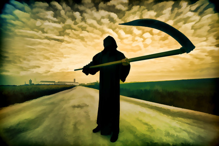 Foto de Digital artwork in watercolor painting style. Grim Reaper on the road - Imagen libre de derechos