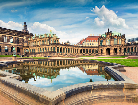 Photo for Morning in famous Zwinger palace (Der Dresdner Zwinger) Art Gallery of Dresden. Colorful spring scene in Dresden, Saxony, Germany, Europe. Artistic style post processed photo. - Royalty Free Image