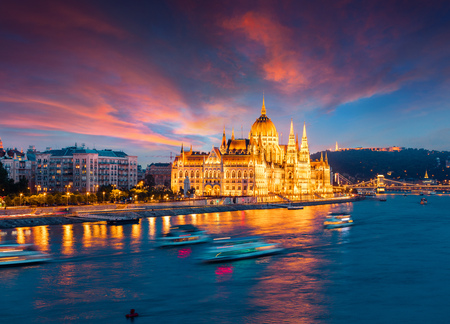 Photo for Colorful evening view of Parliament and Chain Bridge. Dramatic sunset in Budapest, Hungary, Europe. Artistic style post processed photo. - Royalty Free Image