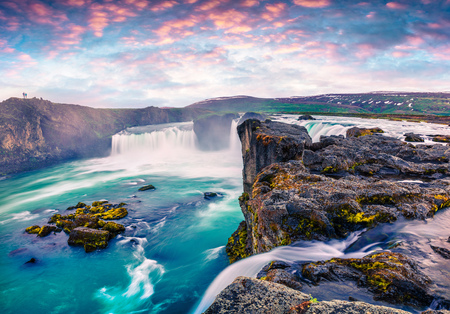 Photo pour Summer morning scene on the Godafoss Waterfall. Colorful sunrise on the on Skjalfandafljot river, Iceland, Europe. Artistic style post processed photo. - image libre de droit