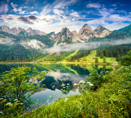 Photo for Misty summer morning on the Vorderer Gosausee lake. Colorful outdoor scene in Austrian Alps, Salzkammergut resort area in the Gosau Valley in Upper Austria - Royalty Free Image