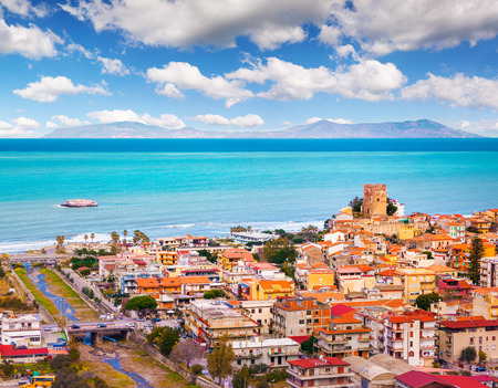 Foto de Colorful spring view of Brolo town, Messina. Beautyiful morning scene on the Mediterranean shore sea, Sicily, Italy, Europe. Beauty of marine resort concept background. - Imagen libre de derechos