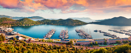 Photo pour View from the bird's eye of the Kas city, district of Antalya Province of Turkey, Asia. Colorful spring panorama of small Mediterranean yachting and tourist town. Artistic style post processed photo.  - image libre de droit