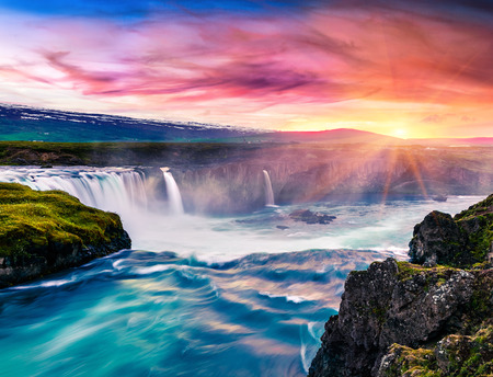 Photo for Unbelievable summer morning scene on the Godafoss Waterfall. Colorful sunrise on the on Skjalfandafljot river, Iceland, Europe. Beauty of nature concept background.  - Royalty Free Image