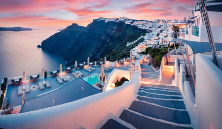 Photo for Great evening view of Santorini island. Picturesque spring sunset on the famous Greek resort Fira, Greece, Europe. - Royalty Free Image