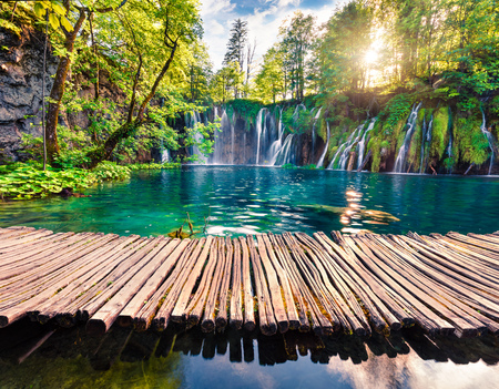 Photo pour Picturesque morning view of Plitvice National Park. Colorful spring scene of green forest with pure water waterfall. Great countryside landscape of Croatia, Europe. Beauty of nature concept background. - image libre de droit