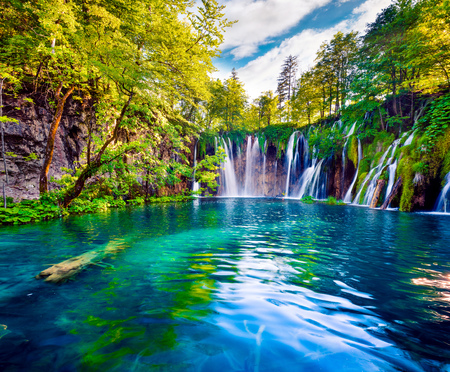 Foto de Picturesque morning view of Plitvice National Park. Colorful spring scene of green forest with pure water waterfall. Great countryside landscape of Croatia, Europe.Beauty of nature concept background. - Imagen libre de derechos