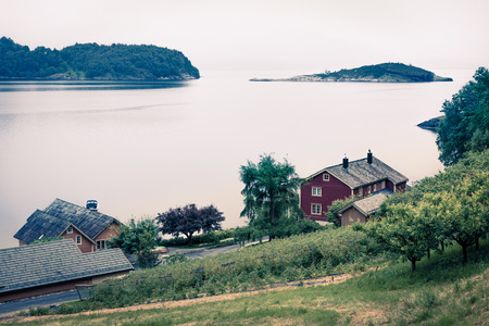 Photo for Typical countryside Norwegian landscape. Misty summer morning in Norway, Europe. Beauty of countryside concept background. - Royalty Free Image