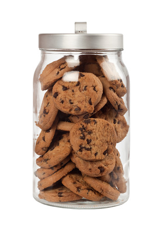Photo for Jar full of chocolate chip cookies isolated on white background - Royalty Free Image