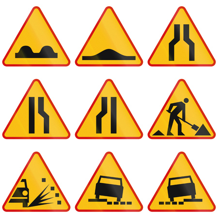 Foto de Collection of Polish warning signs regarding road conditions and road works. - Imagen libre de derechos