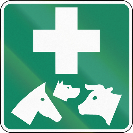 Guide and information road sign in Quebec, Canada - Veterinary.