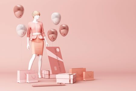 Foto de Mannequin surrounded by shopping bag and the gift box with credit card on the pink backdrop.-3d rendering - Imagen libre de derechos