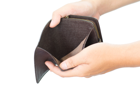 Foto de Empty wallet in the hands isolated on white background - Imagen libre de derechos