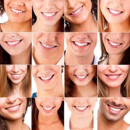 Photo pour Collage, made of many different smiles - image libre de droit