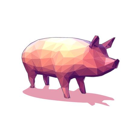 Illustration pour Low polygon vector 3D pig illustration isolated on white background - image libre de droit