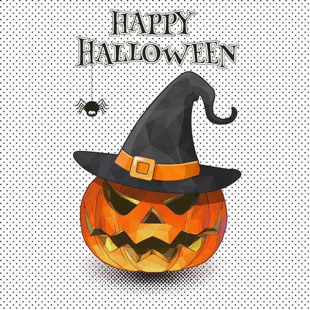Ilustración de A Jack-o-lantern with witch hat on monochrome half tone for Halloween greeting. - Imagen libre de derechos