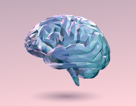 Illustration for Colorful pastel low poly brain on pink background - Royalty Free Image