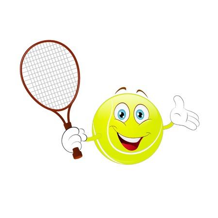 Illustration pour Cartoon, tennis ball holding his racket on a white background. - image libre de droit
