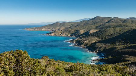 Foto de Clear blue sky above the turquoise Mediterranean sea on the coast of the Desert des Agriates in Corsica with maquis in the foreground and Cap Corse in the distance - Imagen libre de derechos
