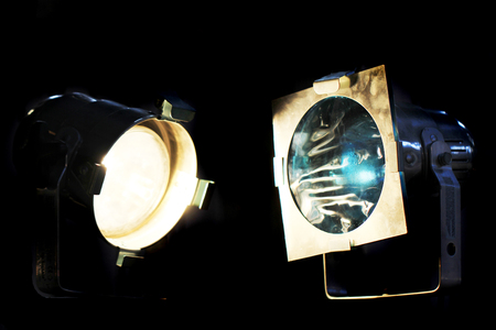 Photo for two old reflectors in the dark night - Royalty Free Image