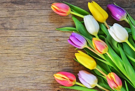 Foto de bouquet of colorful tulips on rustic wooden board, easter decoration - Imagen libre de derechos