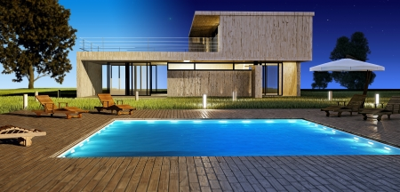 Modern house with swimming pool day and night vision