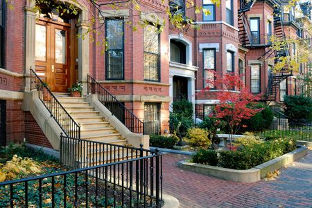 Facades of Back Bay brownstones in the fall