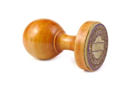 Photo pour Old wooden stamp on a white background - image libre de droit