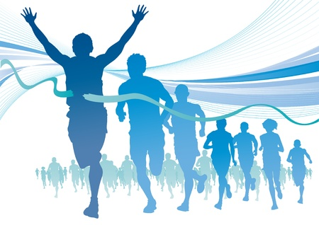 Group of Marathon Runners on abstract swirl background.