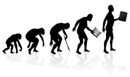 Illustration pour Evolution of Man and Technology - image libre de droit