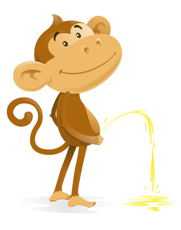 Illustration for Cheeky Monkey takes the Pee - Royalty Free Image