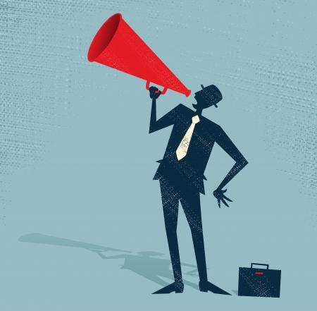 Illustration pour Abstract Businessman with Megaphone  - image libre de droit