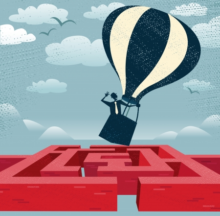 Illustration pour Abstract Businessman finds quick route over Maze  Great illustration of Retro styled Businessman with a very clever idea to use a Hot Air Balloon to find his way through a maze to the other side  - image libre de droit