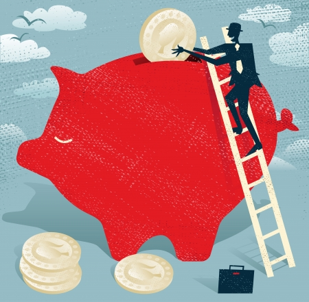 Abstract Businessman saves money in Piggybank. Great illustration of Retro styled Businessman climbing to the top of a giant piggybank to save his hard earned money.