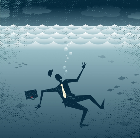 Abstract Businessman Drowning  Great illustration of a Retro styled Businessman Sinking down to the bottom of the Corporate Sea