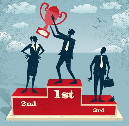 Abstract Businessman celebrates on Winning Podium Great illustration of Retro styled Businessman proudly standing on the winners podium next to his rivals with his trophy