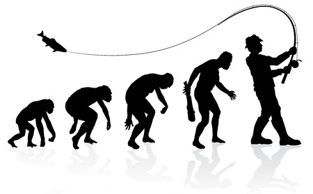 Illustration pour Evolution of the Fisherman. Great illustration of depicting the evolution of a male from ape to man to Fisherman in silhouette. - image libre de droit