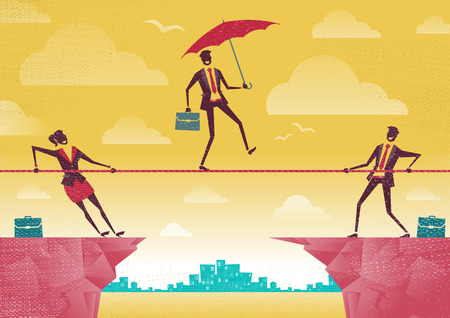 Ilustración de Businessman and Businesswoman use Teamwork on Clifftop. Great illustration of Retro styled Business People working as a team to assist their colleague through a difficult situation. - Imagen libre de derechos
