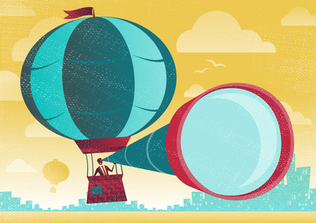 Businessman has a great view in a Hot Air Balloon. Great illustration of Retro styled Businessman who has the best view of the business landscape.