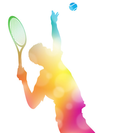Illustration pour Colorful abstract illustration of a Tennis Player serving high to hit an Ace in this Championship match through a haze of summer blurs. - image libre de droit